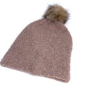 Hand Knit & Faux Fur Pom Pom Beanie Toboggan